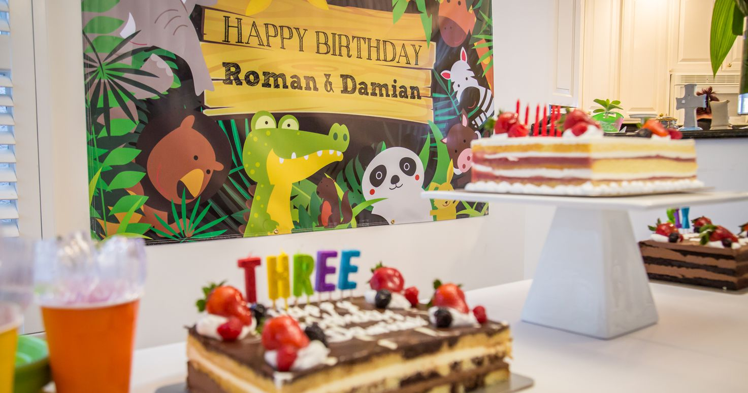 Event photography photo session 6th sixth and 3rd third joint birthday party Roman Damian Romina Peyman Wild animals from Wild Learning center at their house in Encino Los Angeles California 02/11/2018