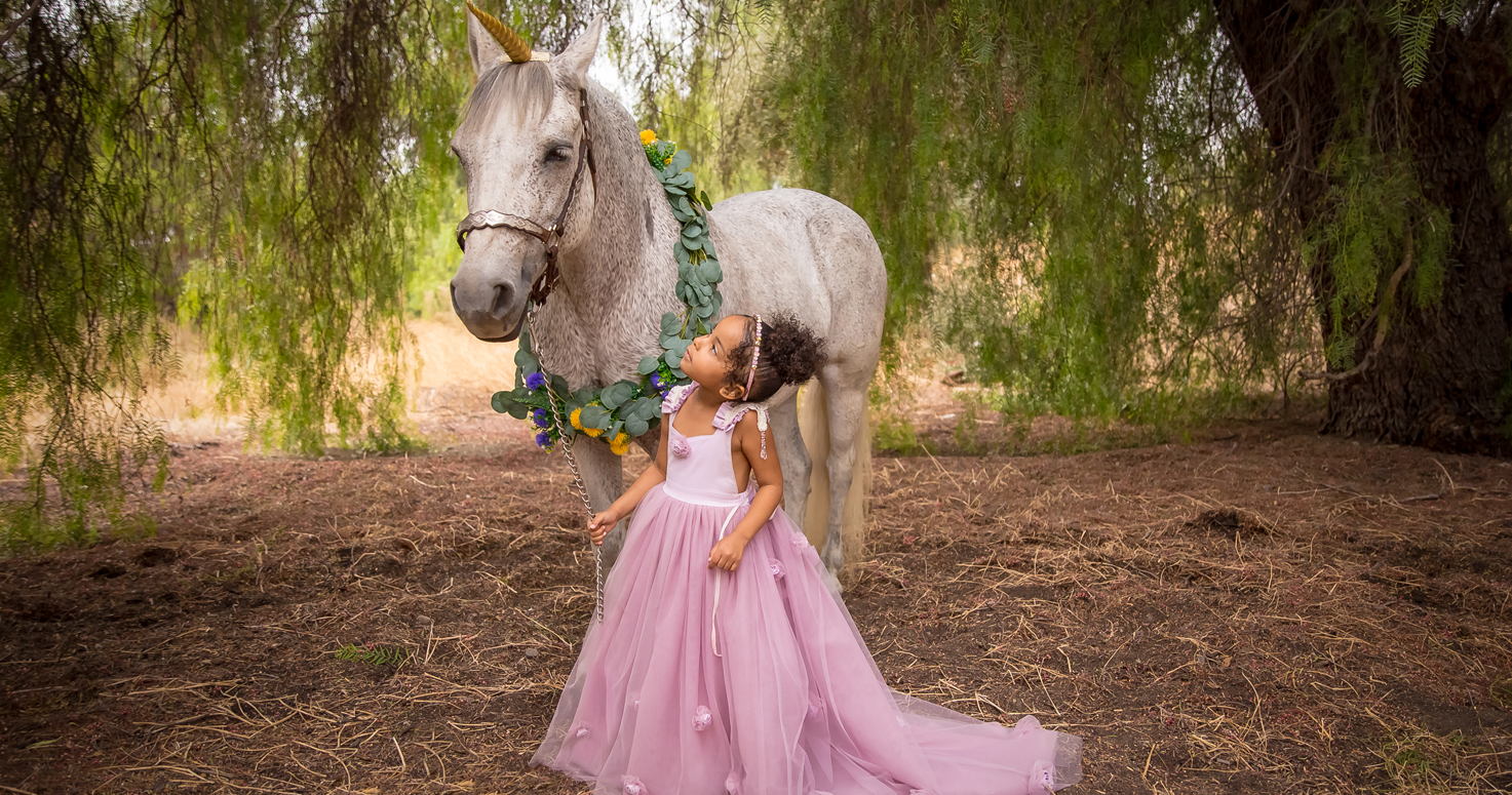 Kids photography children Unicorn photo session with Eliana at Orcas Park in Shadow Hills Los Angeles California 10/27/2019